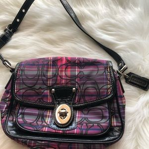 Coach pink plaid mini purse